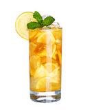 Glass Of Cold ice tea Drink isolated on white Royalty Free Stock Photos