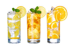 Glass Of Cold ice tea and lemonade Drink collection  i Stock Image
