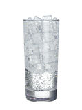 Glass of cold mineral carbonated water with ice cubes Isolated Royalty Free Stock Photography
