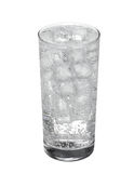 Glass of cold mineral carbonated water with ice cubes Isolated Stock Photo