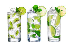 Glass Of Cold mojito Drink collection with ice isolated Stock Photography