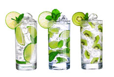Glass Of Cold mojito Drink collection with ice isolated Royalty Free Stock Photography