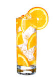 Glass Of Cold orange cocktail  with ice isolated on white Stock Photos
