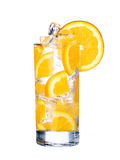 Glass Of Cold orange Drink with ice isolated on white Stock Photography