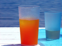 Glass of cold orange juice Stock Photo