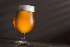 Glass of cold pale beer. On a rustic wooden table Royalty Free Stock Image