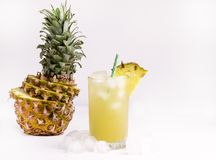 Glass of Cold Pineapple Juice on White Background Summer Detox Diet Concept Summer Cold Drink Copy Space Toned Stock Photography
