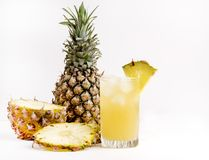 Glass of Cold Pineapple Juice on White Background Summer Detox Diet Concept Summer Cold Drink Copy Space Royalty Free Stock Photography