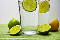 Glass with cold sparkling mineral water, lime and lemon. Seltzer Stock Image