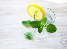 Glass with cold sparkling water, a slice of a lemon and fresh greens of min. T on a wooden surface of a table Stock Images