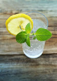 Glass with cold sparkling water, a slice of a lemon and fresh greens of min. T on a wooden surface of a table Royalty Free Stock Photos