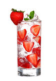 Glass Of Cold strawberry Drink with ice isolated on white Royalty Free Stock Photos