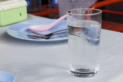 A glass of cold water on the table Royalty Free Stock Photo