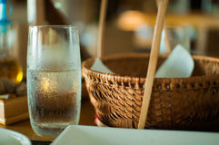 Glass of cold water on table Royalty Free Stock Photography