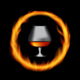 Glass Collector 50 year-old French Cognac on Background of Burni Royalty Free Stock Photos
