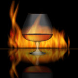 Glass Collector 50 year-old French Cognac on Background of Burni. Ng Fireplace Fire. Vector Illustration. EPS10 Royalty Free Stock Images