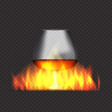 Glass Collector 50 year-old French Cognac on Background of Burni. Ng Fireplace Fire. Vector Illustration. EPS10 Stock Photography