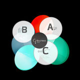 Glass color circles - infographic elements on black Stock Photography