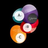Glass color circles - infographic elements on black Stock Photo