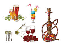 Glass with a color cocktail, beer, vine and hookah stock illustration