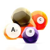 Glass color hexagons. Glossy plastic hexagon design with text Stock Image