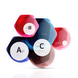 Glass color hexagons. Glossy plastic hexagon design with text Stock Photos