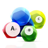 Glass color hexagons. Glossy plastic hexagon design with text Stock Photo