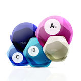 Glass color hexagons. Glossy plastic hexagon design with text Stock Photography