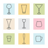 Glass - colored background. Glass icon in the lines on a colored background stock illustration