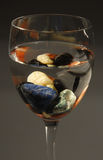 Glass with colored stones and water. Concepts of alternative therapies, zen life and harmony Royalty Free Stock Photo