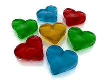 Glass colurful hjärtor för gelé Royaltyfria Bilder
