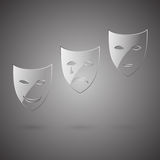 Glass comedy, tragedy & poker face mask Royalty Free Stock Photo