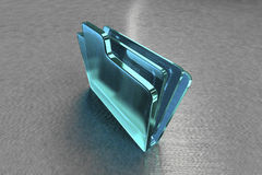 Glass computer folder. Light blue clear glass computer folder with gray background Royalty Free Stock Photo