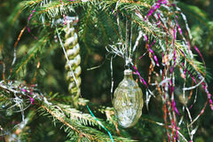 Glass cone and icicle christmas decoration Stock Photo