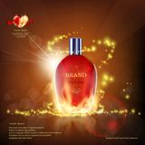 Glass container with a perfume on fire. Cosmetic ads template. Stock  illustration Stock Photo
