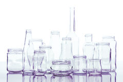 Glass containers background Stock Photo