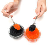Glass containers with fish caviar 2 royalty free stock photos