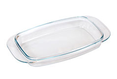 Glass cooking pan over white Royalty Free Stock Image