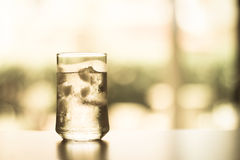 Glass of Cool fresh drink with ice cube on the  table Royalty Free Stock Photos