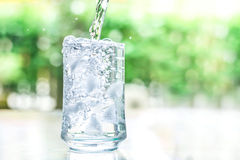 The glass of cool water with some water flow down motion Royalty Free Stock Photo