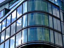 Glass corner. Detail of a modern business building from outside stock photo