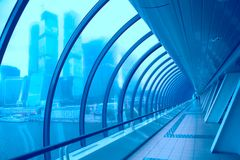 Glass corridor in the business centre Royalty Free Stock Photos