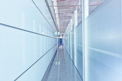 Glass corridor interior stock image