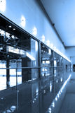 Glass corridor in office centre Royalty Free Stock Photo