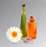 Glass Cosmetic Bottles and Candle with Chamomile. Vector Isolated Stock Photo