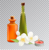 Glass Cosmetic Bottles and Candle with Jasmine. Vector Isolated. Illustration. Template Elements for Cosmetic Shop, Spa Salon, Beauty Products Package, Medical Stock Photos