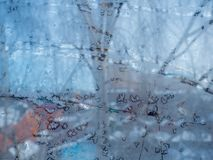 Glass covered with ice during severe frosts in winter Stock Photography