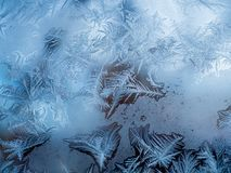 Glass covered with ice during severe frosts in winter Royalty Free Stock Images