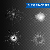 Glass Crack Images Set. Set of different types of glass crack on seamless background graphic vector illustration royalty free illustration
