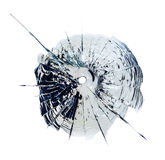 Glass cracked by bullet impacts, isolated Stock Photography